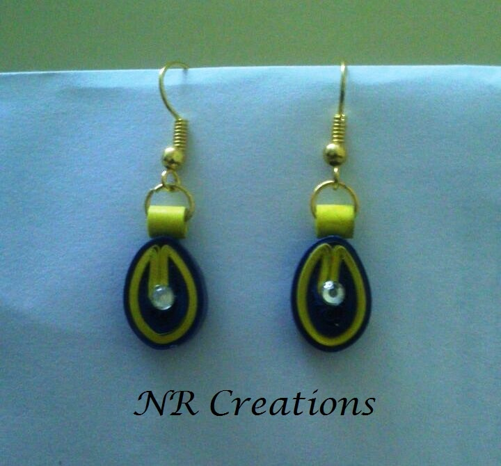 blue yellow ear rings