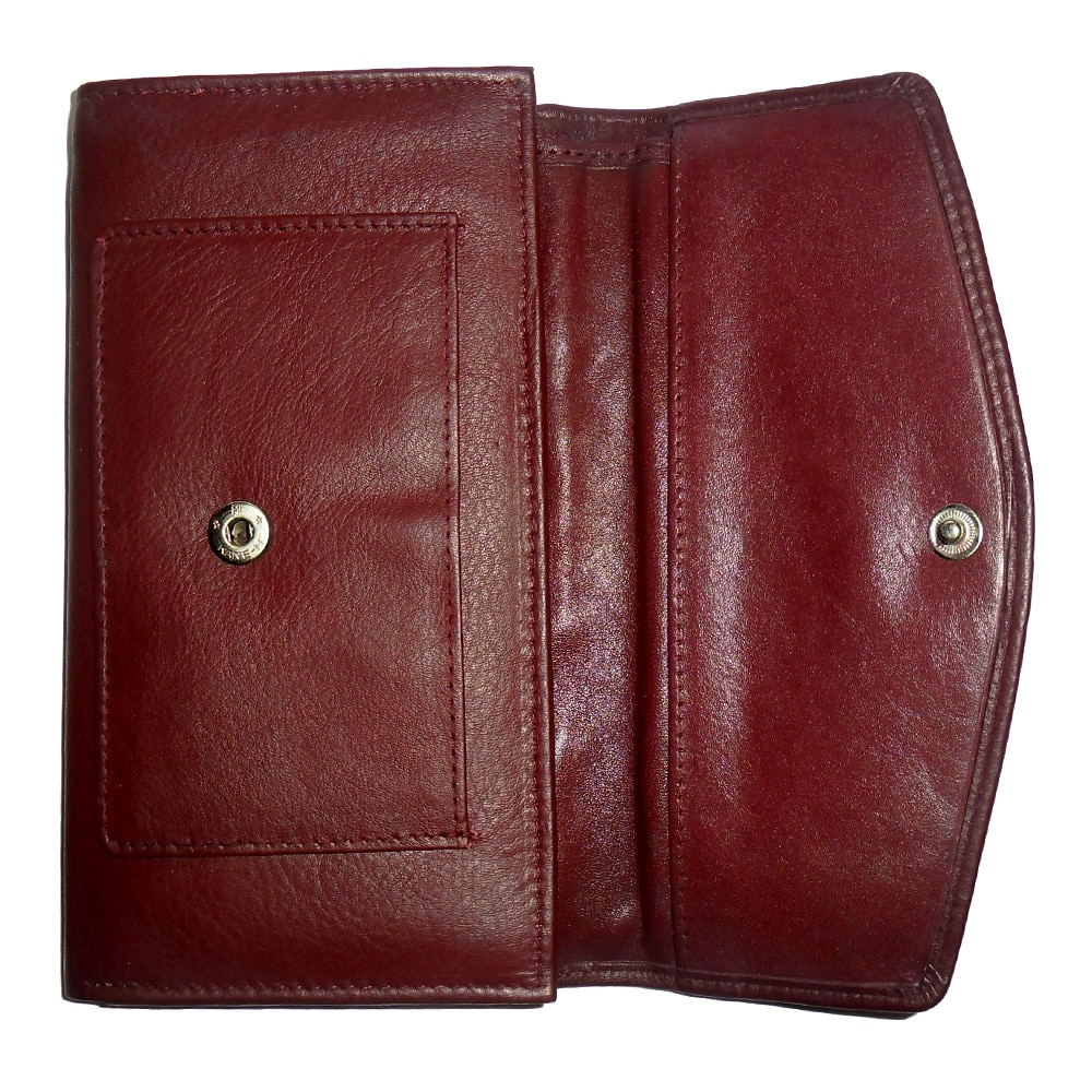 Genuine Leather Women's Trifold Wallet-616-b092-cherry