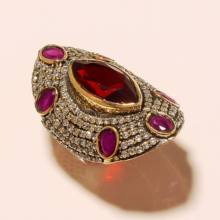HIGH QUALITY TURKISH 925 STERLING SILVER GEMSTONE GARNET RUBY JEWELRY RING 7