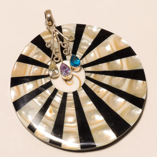 925 SILVER PAUA SHELL MOTHER OF PEARL ZEBRA PRINT BLUE TOPAZ CITRINE PENDANT