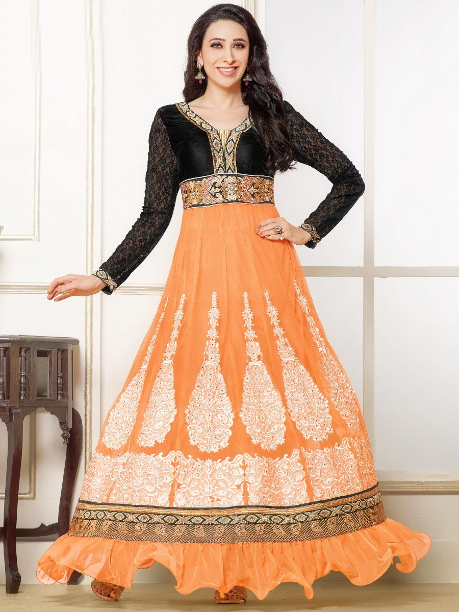 Fashion Forest Orange and Black Georgette Dress Material