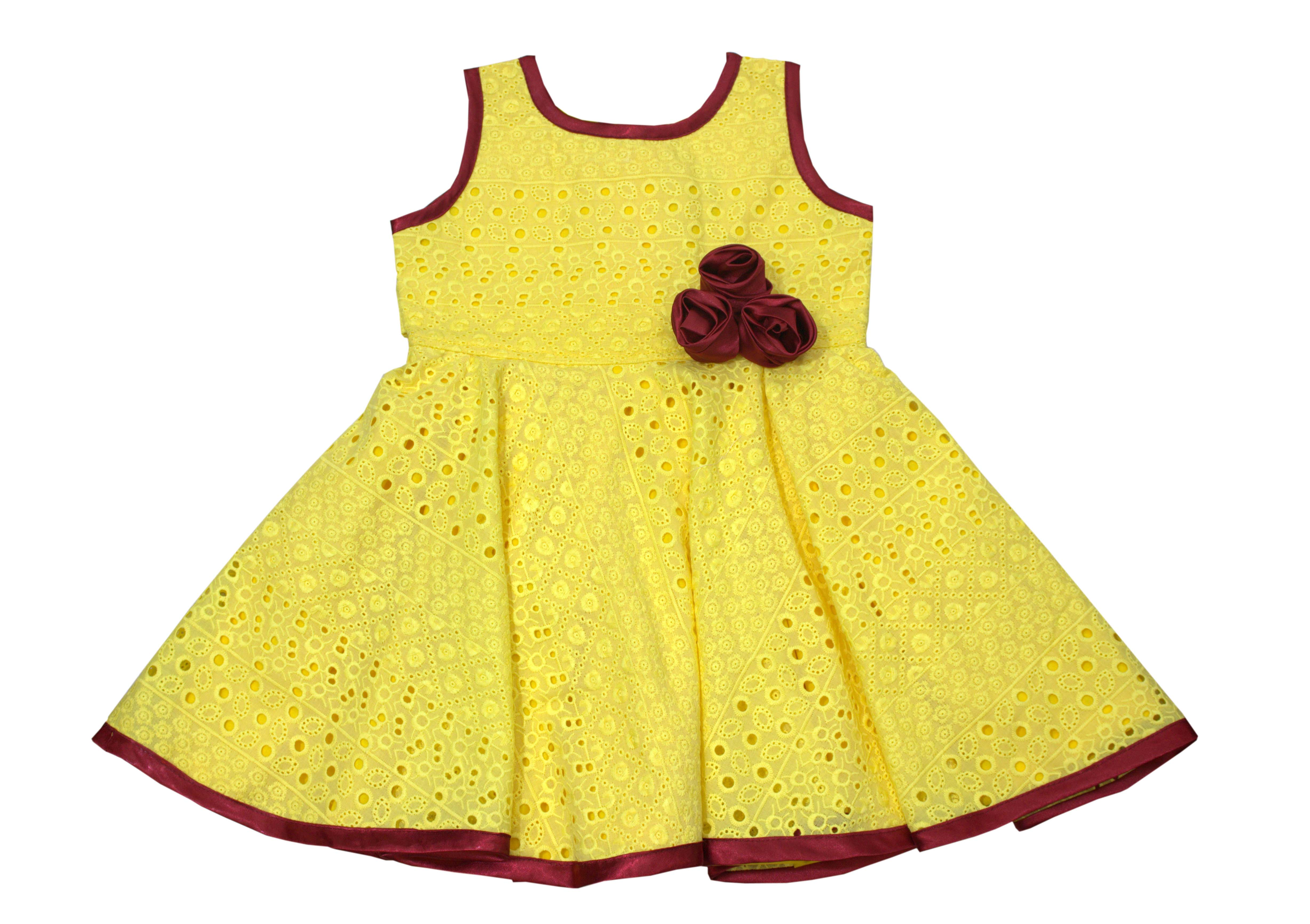 Yellow Dress Cotton Hakoba Available in 6 months to 13 Years Girls from Unnati Clothings