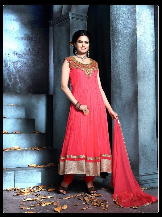 New Designer Pink Anarkali Suit