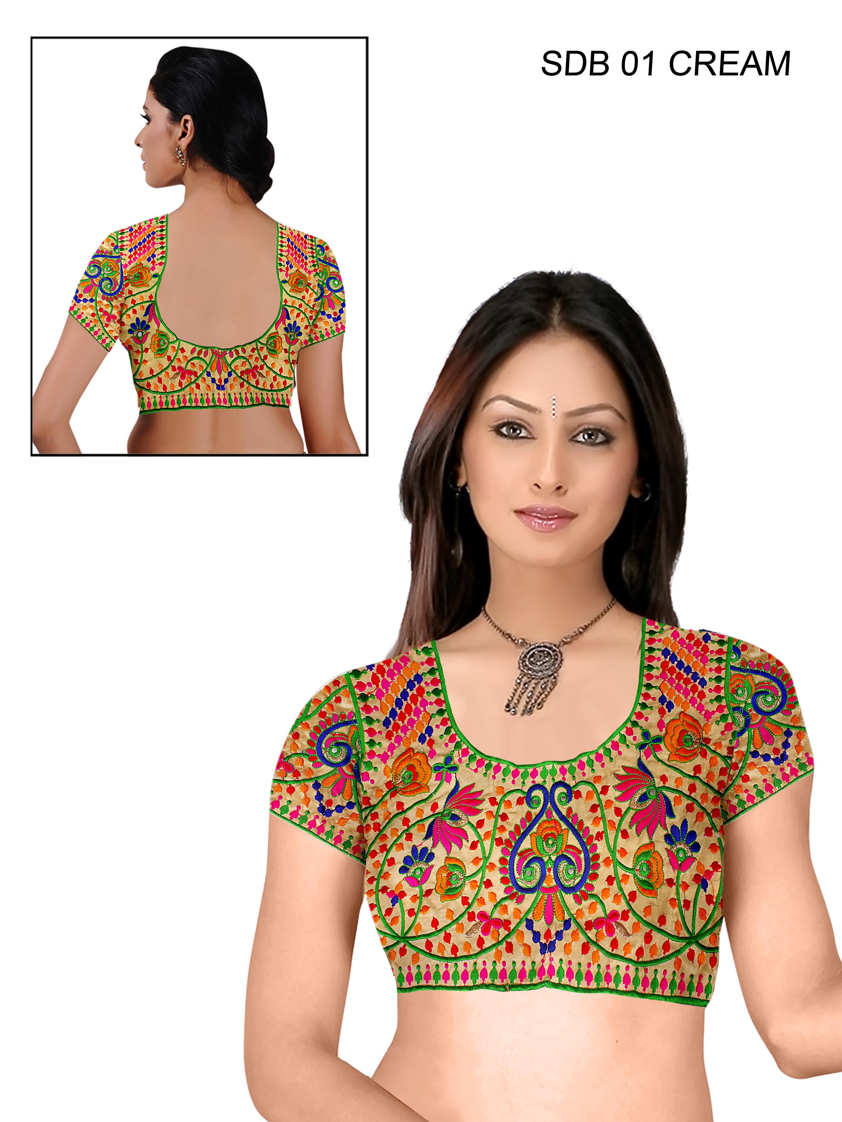 Shreeji Designer Cream Color Un-stitched Blouses Material