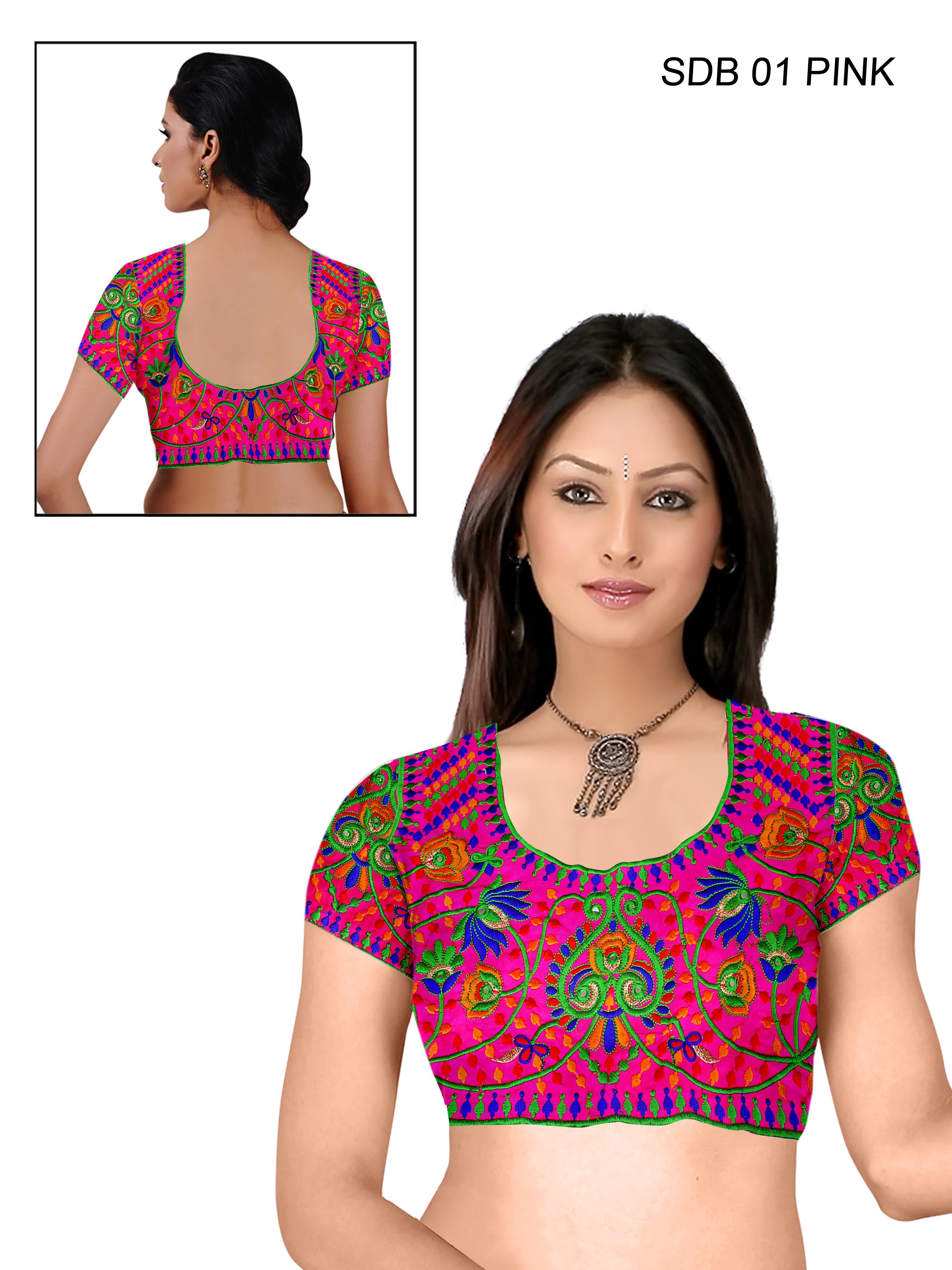 Shreeji Designer Pink Color Un-stitched Blouses Material