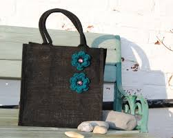 Blue flowers jute bag