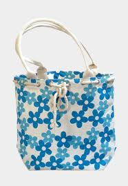 Blue flower jute bag