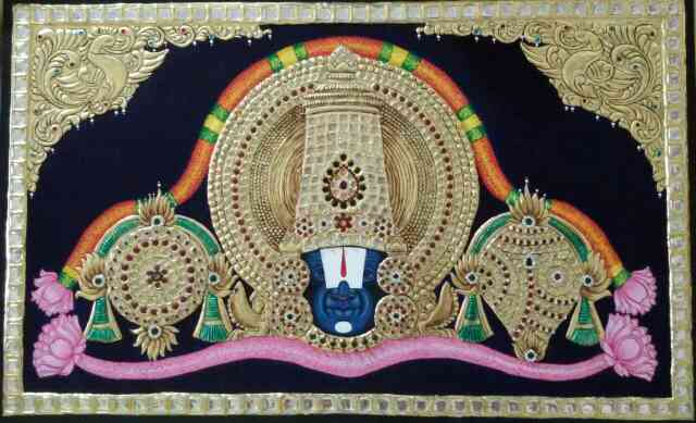 Tanjore painting vekateshwara swamy full gold work