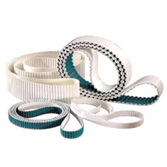 We are placed amongst the renowned manufacturers, exporters and suppliers of a comprehensive range of Timing Belts. These belts have a wound endless construction and are made to custom lengths ranging from 1.5 to 13.5 meters. Manufactured in an endless form for greater strength and longer life compared to spliced (welded belts), these belts are ideal for power transmission and high tension applications. Steel reinforced urethane construction for improved durability, these Timing Belts are offered at the most reasonable price to the clients.  Features: Excellent abrasion and chemical resistance Exceptional strength Low stretch Superior flex-fatigue properties