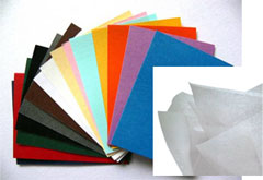 Filter Paper , Tissue Paper , Fancy Papers  Filter papes  are comprised primarily of glass microfibers and are produced with a wet laid process similar to those used for the production of paper. Filter paper is a semi-permeable paper barrier placed perpendicular to a liquid or air flow. It is used to separate fine solids from liquids or air. It's an ideal filter media to produce air filters, oil filters, coffee filters, tea bags & laboratory filters . Tissue paper is a lightweight paper or, light crêpe paper. Mainly used in making facial tissues, paper towels, wrapping tissue, toilet tissue & toilet towels. Fancy papers are used in labels, posters and other decorative applications.