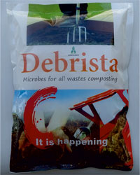 DEBRISTA  Microbes for all Wastes Composting  Debrista is a group of aerobic microbes for composting farm wastes, green kitchen wastes, gardens and city wastes. Use 1 kg of Debrista for composting 1 ton of any waste. Make slurry of Debrista & water and mix thoroughly with wastes. If the waste is too wet, use powder directly onto the wastes. Make heaps of treated wastes at a height of about 2 metre. Keep turning the heaps at an interval of 15 days to trigger aerobic composting faster. Maintain moisture level of 40% throughout composting. When compost gets cooled and soft, it is an indication of composting being over.