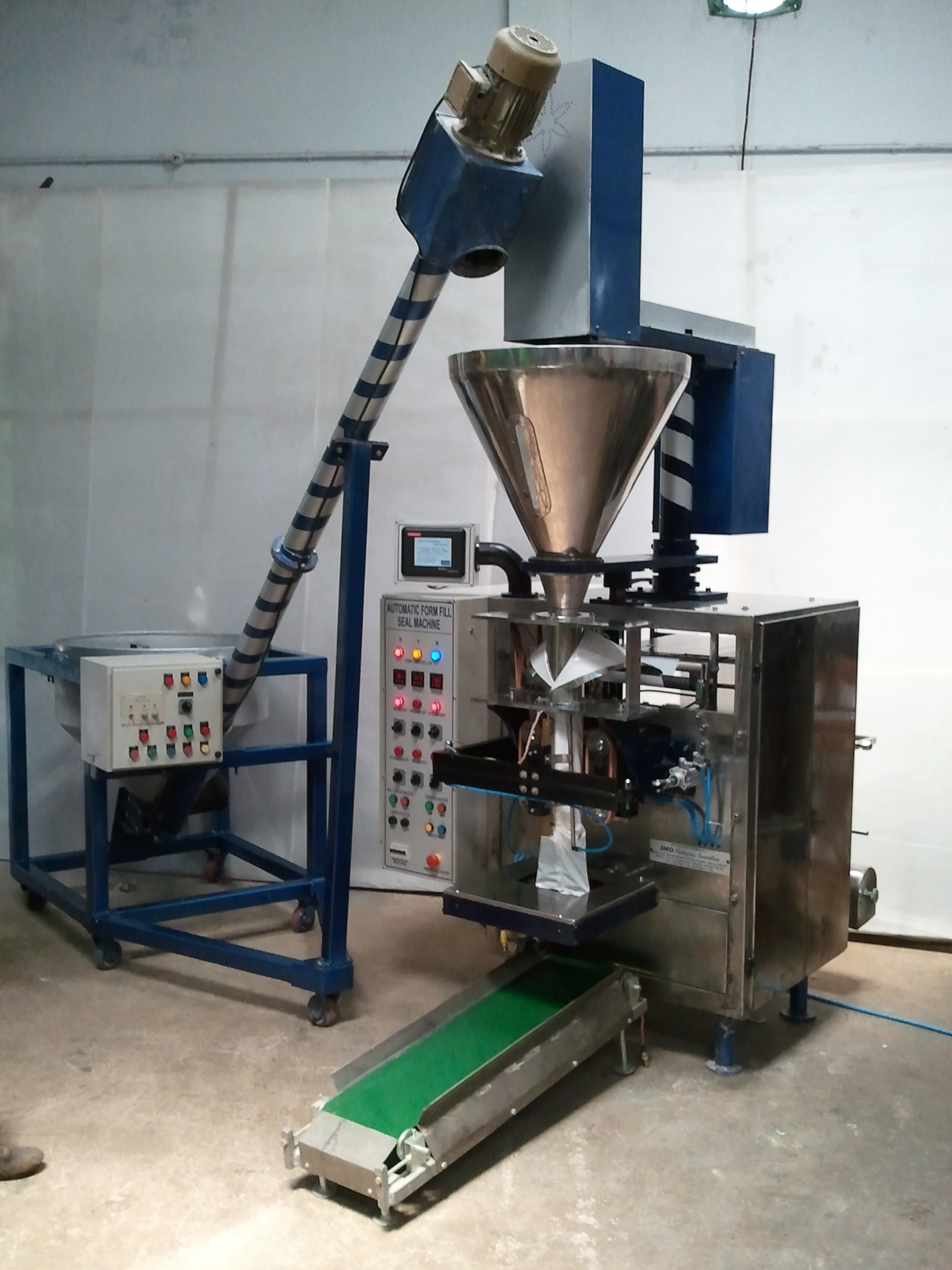 These machines can be used any heat seal-able laminated films like: Polyester Poly Paper Foil BOPP  Packaging Items Any type of non free flow powder products like ATTA, MAIDA, BESAN, SATTU, Spice, FERTILISERS, PESTICIDES, MUSHROOM POWDERS, MEHENDI etc.  Technical Specification Out Put – Up to 100 BPM Filling Capacity – 5 gm – 1 kg Filling Type – SERVO DRIVES/CLUTCH BRAKE DRIVES Sealing Type – Fin Seal / Lap Seal Packaging Materials – LAMINATES/LDPE/ANY HEAT SEALABLE PACKING MATERIALS Machine Weights – 750 – 800 kg (APROX) Machine Dimension – WIDTH – 1250 mm, LENGTH – 2700 mm Depth – 1800 mm. (ADJUSTABLE)