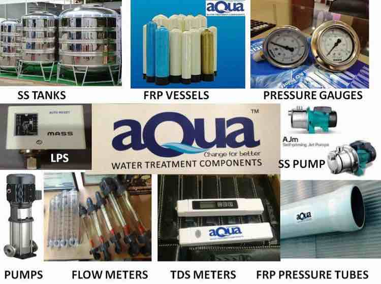 Deals with all types of water treatment components like Raw water feed pumps  Frp vessels  Multi port vale  Cartridge filters  High pressure pumps Membrane housings  Membranes  Skids  Flow meters  Pressure gauges  Pressure switches  Stainless steel tanks