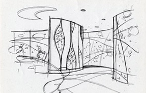 Providing conceptual sketches for designing the spaces. Sketches help in visualization of concept for designing and help in structural perspective.