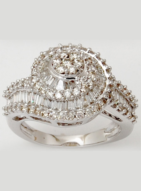 Wavy White Gold Baguette Diamond Cluster Wedding Ring Design