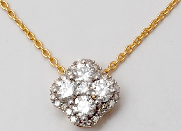 Diamond Cluster with Halo Diamonds Prong Set Pendant and Chain