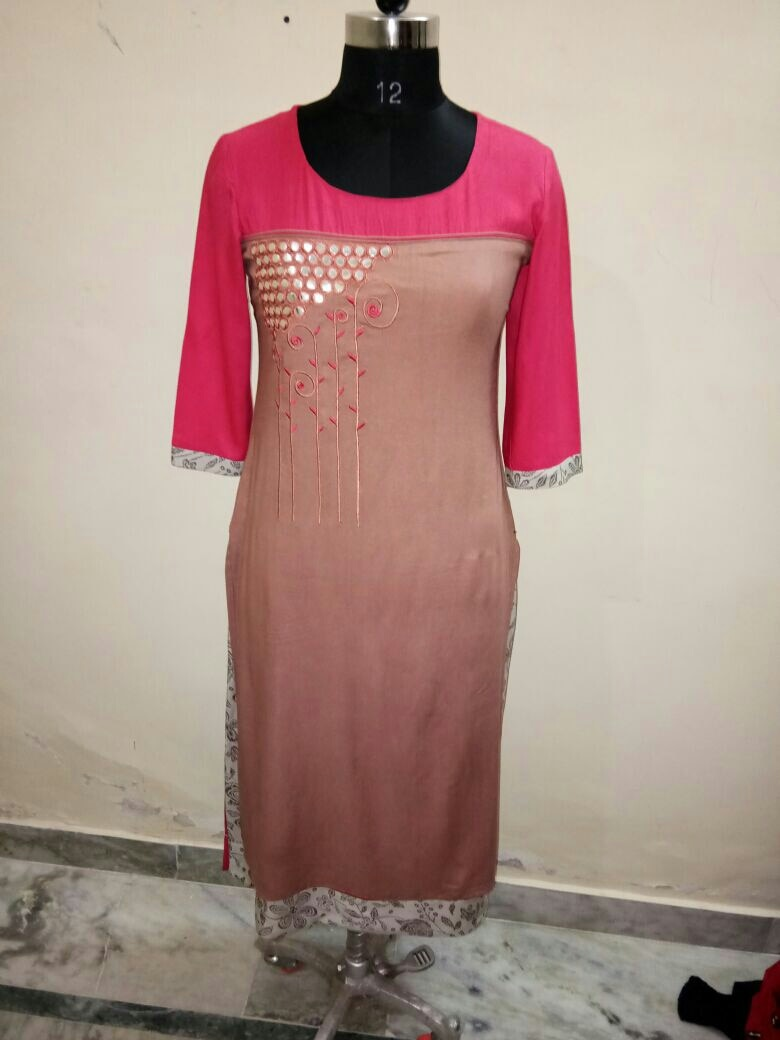 dubble layer kurta with embroidery