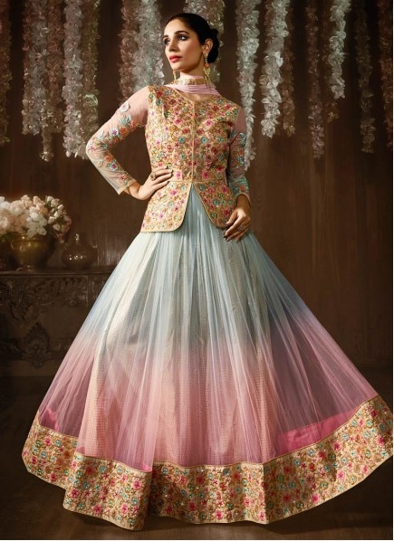 Buy Patch Border Work Blue And Pink Jacket Style Anarkali Suit, Shop Online