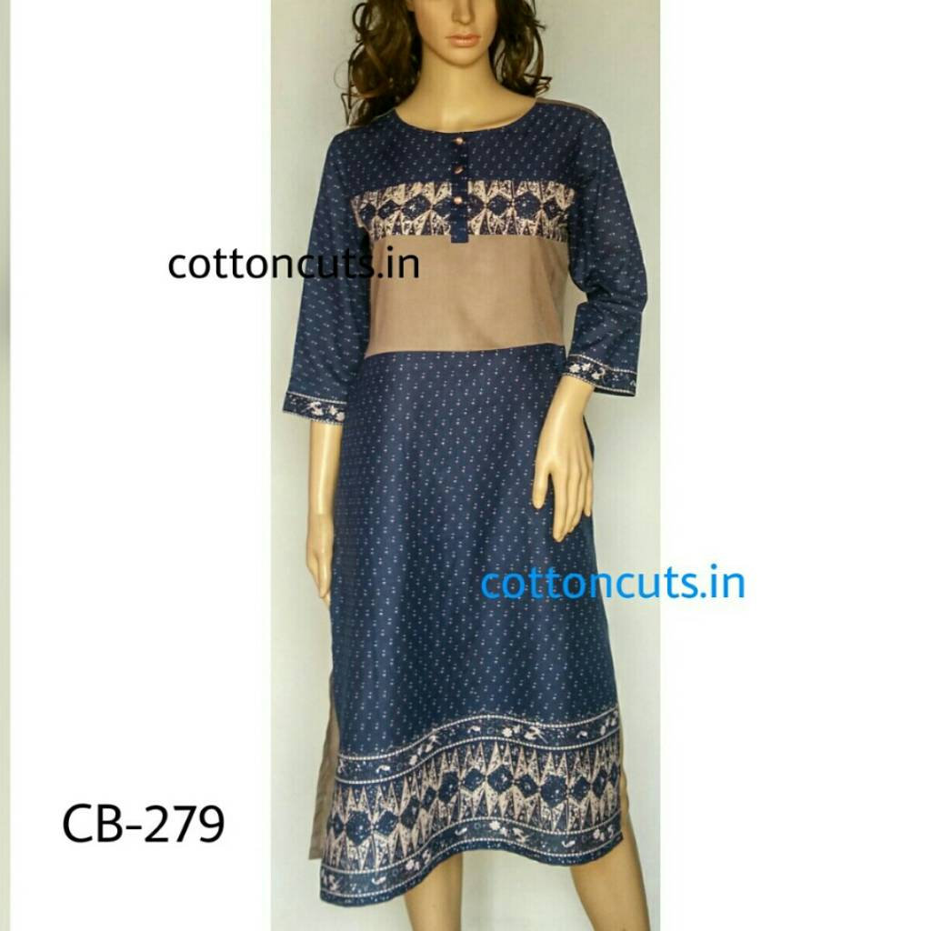 Length of Design(Inches) -44 Bust Sizes in Inches - 38/40/42 Inside Margin for expansion-2 inches Colours available - One Fabric Used - Pure Cotton Cambric and Modal Designer Casual wear Kurti in rounnd neckline done with handwork on beige modal patch at the front