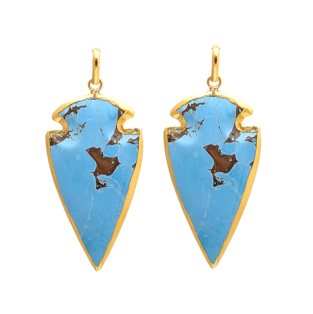 Blue Turquoise Gold Electroplated Gemstone Arrowhead Pendant