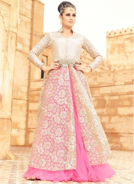 Buy Net Cream And Pink Embroidered Work Long Choli Lehenga, Shop Online