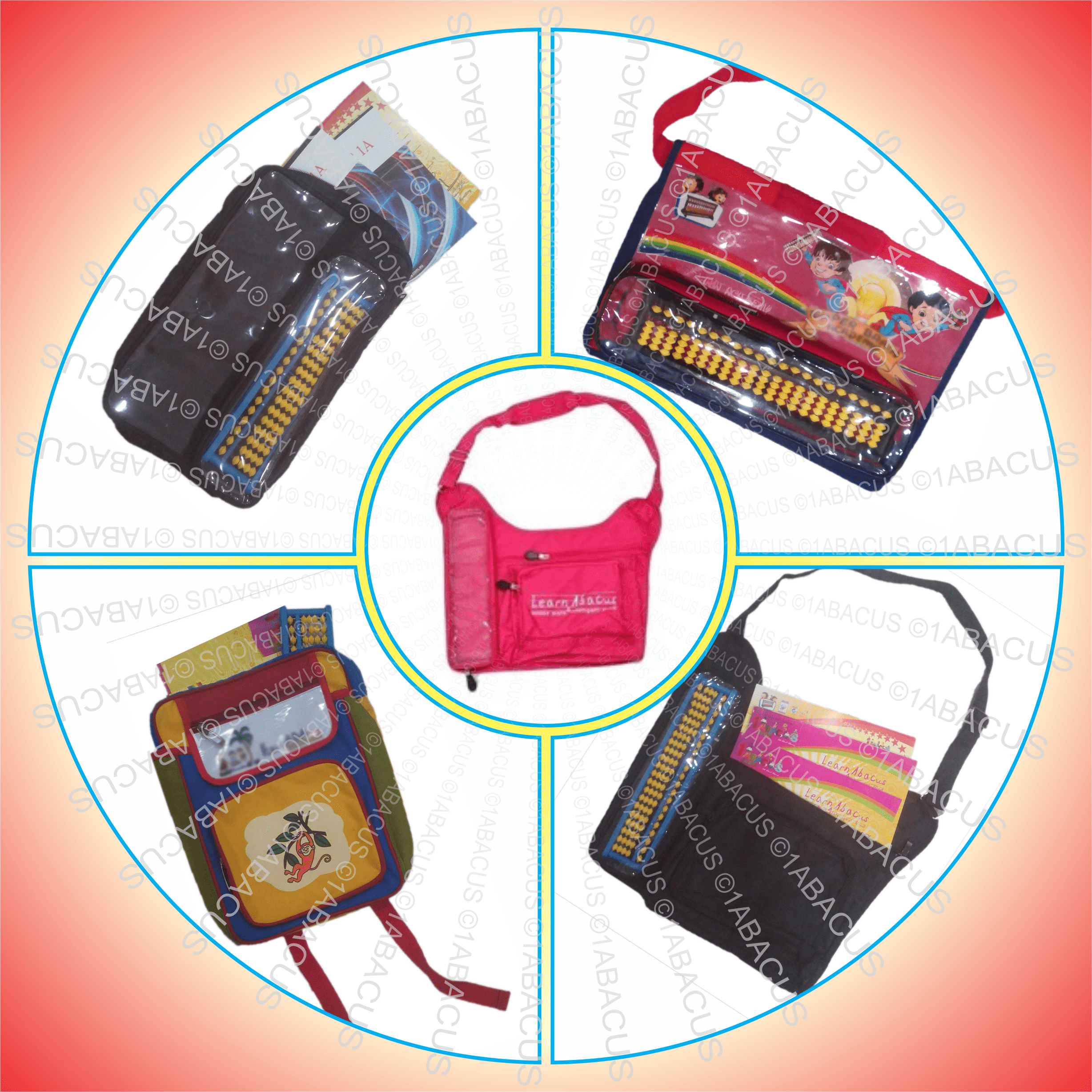 Abacus Bags is an accessory for Abacus teachers and Abacus trainers to facilitate student of Abacus to carry books, assignments and tool to the classes easily and with comfort. Our Abacus Bags are just those bags which are right for Abacus classes purposes. We help you buy the Abacus bags with your Logo and address on it. We also accept order under small quantities of 100,200 or 300 bags even.
