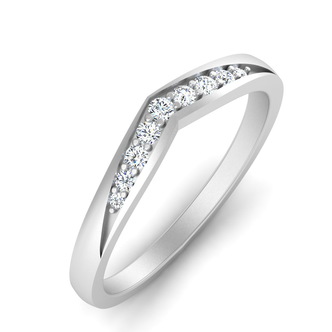 Real Natural Round Cut Diamond 18Kt White Gold Engagement Ring