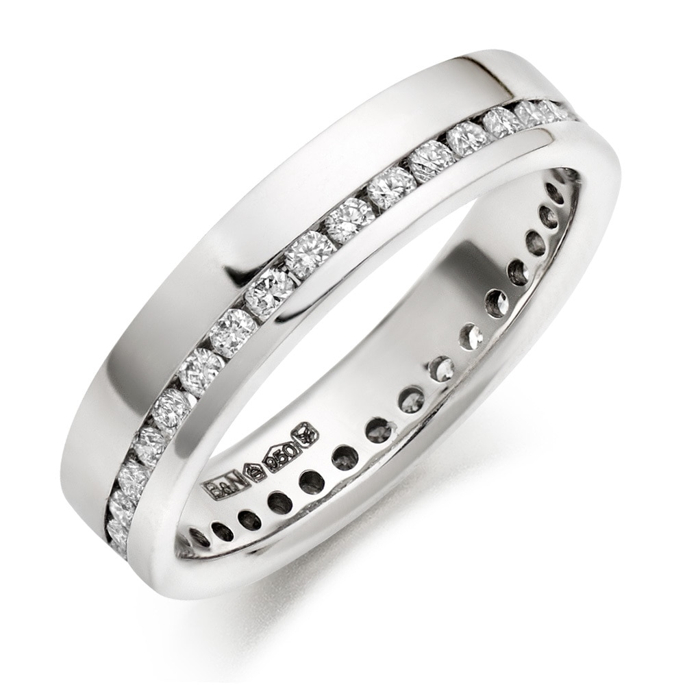 Real Natural Round Cut Not Enhanced White Diamond 14Kt White Gold Engagement Band