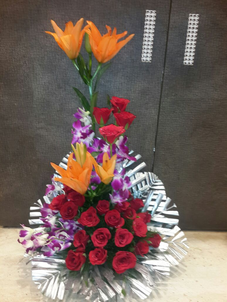 BUY mixed flower bouquet of lilieys orchid and roses. in Indore ...