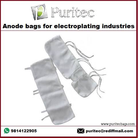 Anode Bags Keep sludge in the bag...not in your bath  If your electro-plating solution requires anode bags, chances are we've already made your size and shape to fit a particular problem in waste management. That's why we make quality bags of various fabrics to fit your anode bag requirements.  The Rubber Bottom Bag makes double bagging unnecessary! When you need the best bag for the money, ask for CRAP TRAP, the world's only bag with a reinforced rubber bottom. This added protection makes these bags last up to 5 times as long as regular bags, yet it costs you only pennies more. Made in virtually all sizes and materials. Eliminates the need for double bagging, and assures you of a cleaner bath with fewer rejects. This bag is highly recommended for brite nickel. Hold fines best.  The Polynap and Polypropylene holds up well in most solution.  We manufacture anode, basket, chemical addition and filter bags, including duplex bags in any custom size.  Only top quality Polypropylene cord is used. All our bags are double sewn top and bottom with 100% Polypropylene threads. Drawstrings and ties double sewn, so they won't pull out.