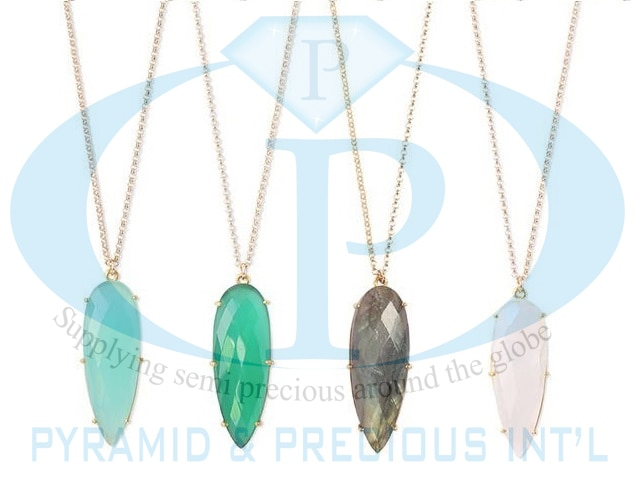 Gemstone Long Pear Prong Set Pendant Necklaces
