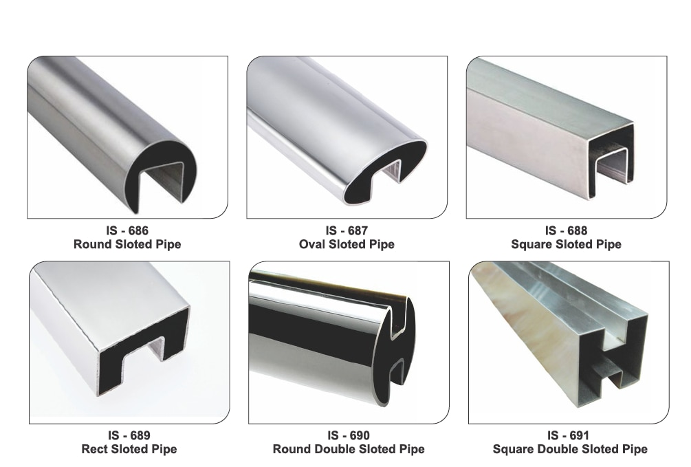 Stainless Steel Slotted Pipes for Railing and architectural work.  Variations Available : Round Slotted Pipe Oval Slotted Pipe Square Slotted Pipe Rectangle Slotted Pipe Round Double Slotted Pipe Square Double Slotted Pipe