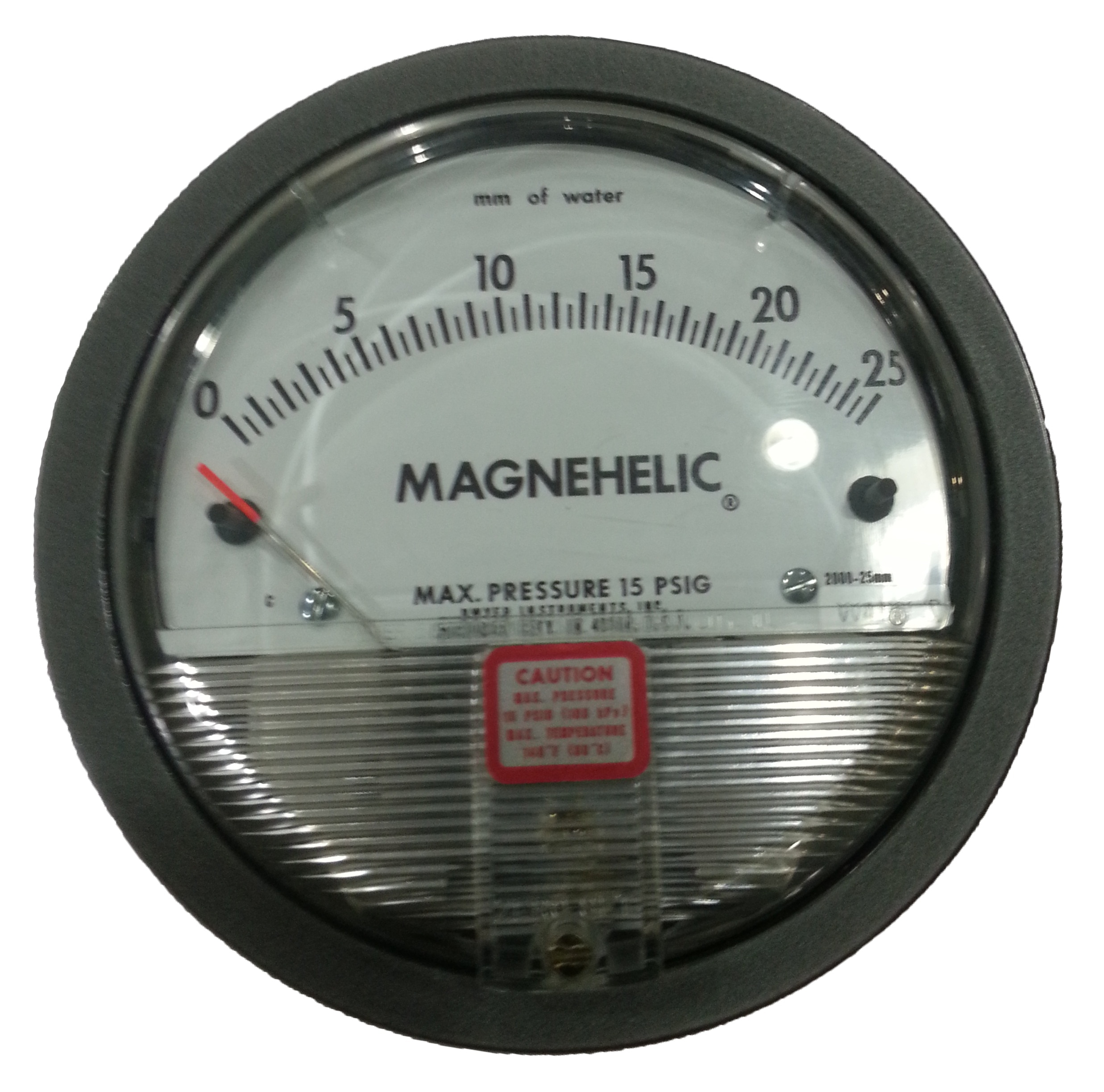 Select the Magnehelic® gage for high accuracy--guaranteed within 2% of full scale--and for the wide choice of 81 models available to suit your needs precisely. Using Dwyer's simple, frictionless Magnehelic® gage movement, it quickly indicates low air or non-corrosive gas pressures--either positive, negative (vacuum) or differential. The design resists shock, vibration and over-pressures. No manometer fluid to evaporate, freeze or cause toxic or leveling problems. It's inexpensive, too.  The Magnehelic® gage is the industry standard to measure fan and blower pressures, filter resistance, air velocity, furnace draft, pressure drop across orifice plates, liquid levels with bubbler systems and pressures in fluid amplifier or fluidic systems. It also checks gas-air ratio controls and automatic valves, and monitors blood and respiratory pressures in medical care equipment.  Note: May be used with Hydrogen. Order a Buna-N diaphragm. Pressures must be less than 35 psi.  Product Applications:  Filter Monitoring Air Velocity with Dwyer Pitot Tube Blower Vacuum Monitoring Fan Pressure Indication Duct, Room or Building Pressures Clean Room Positive Pressure Indication