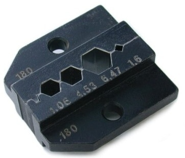Crimp tool die for HX-R-BNC  Pin crimping: 1.60 mm Shield and jacket: HEX crimp 6.47 mm (A), 4.53 mm (B), 4.06 mm (C)..