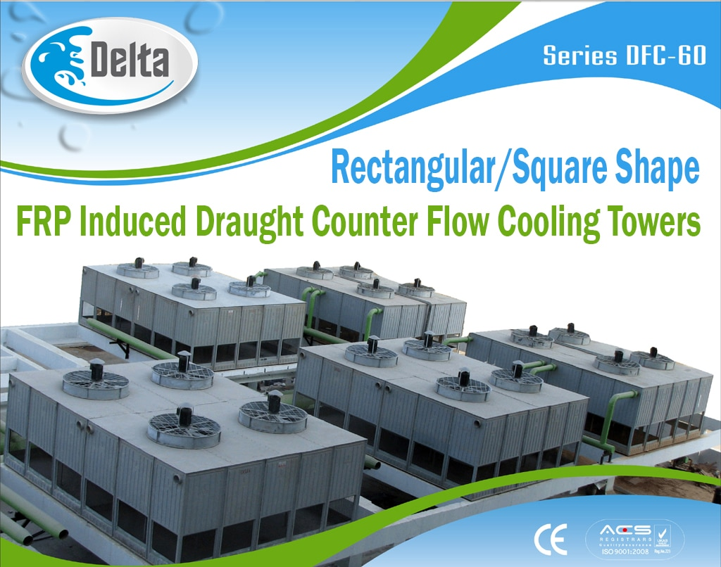 Delta's DFC-60 Series Cooling Towers utilize the induced draught counter flow principle of operation. Heated water enters via the hot water inlet passing through perforated branch pipes spreading the water evenly by the splash caps. Water is distributed over the heat exchange fill. Water flows as a thin film downward through the fill coming into direct contact with ambient air traveling upwards in a counter flow direction.  Water cooling is affected by heat transfer to the air in the form of evaporation and convention. To prevent carry – over of water droplets by the fan, drift eliminators are mounted above the water distribution. The drift eliminator controls drift loss to less than 0.02 % of water in circulation.   Great flexibility is introduced by multi-cell cooling towers which can be tailored to meet individual cooling requirements and conditions. This design also assures a high degree of availability.