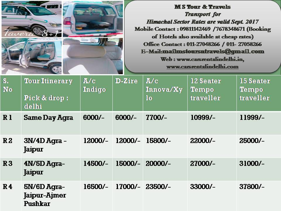 Terms & Conditions:- All Toll, State Tax & Parking charges are included. If government hike Diesel/Petrol price, then cost will increase without any notice. All Rates are subject to availability. In These Rates (ROHTANG PASS in Manali) are not Included. Note :-service tax :- 6% Extra