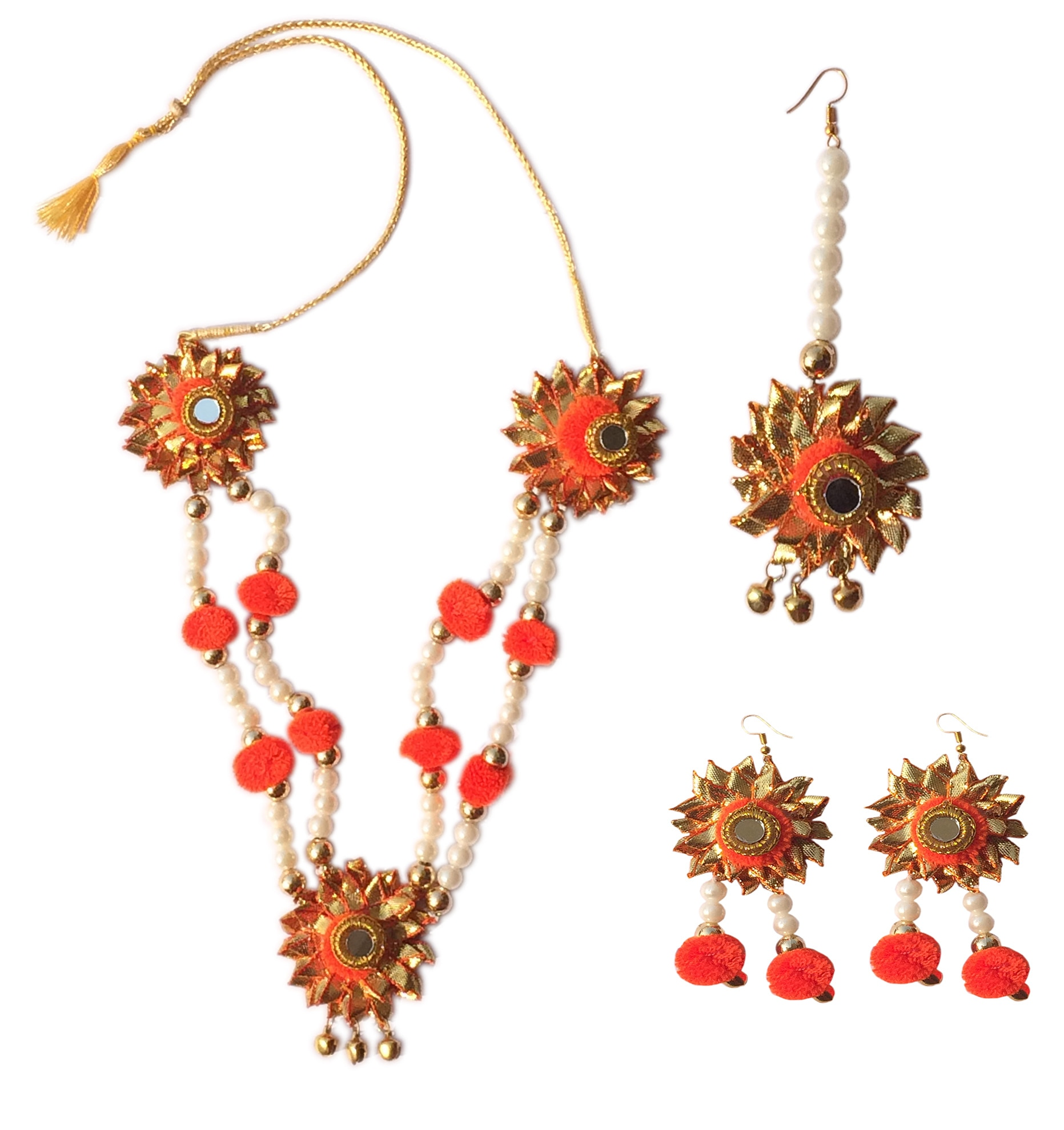 Gotta Patti Full Set {(1) Gotta patti Necklace (2) Gotta patti Ear Ring (3) )Mang Tikka }  Occasion: Mehendi, Pre-Wedding Pooja, Wedding Day.  Light weight jewellery  Images Shown of actual product . There may be slight variation in the color & texture being hand crafted , & due to photographic effect.All items must be sold/purchased /returned altogether.