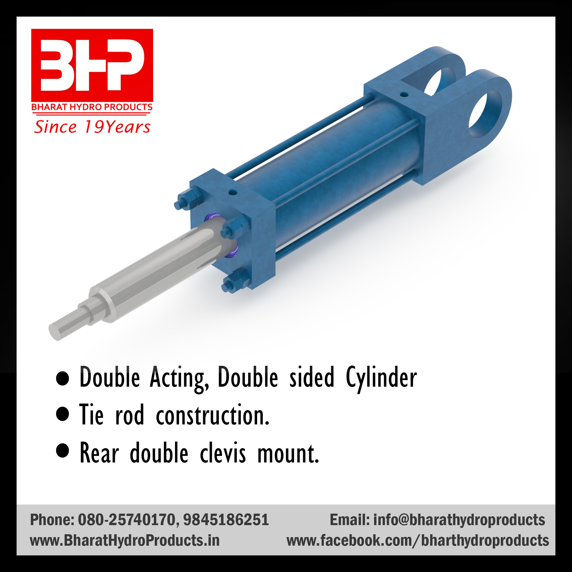Double Acting, Double sided Cylinder manufacturer in Bangalore. Tie rod construction cylinder manufacturer in Bangalore. Rear double clevis mount cylinder manufacturer in Bangalore.