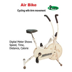 Exercise Bike  Offering you a complete choice of products which include excel air bike, excel ease recumbent bike, excel exercise cycle, excel pyramid bike, excel static bike and excel racer cycle.   Excel Air Bike Excel Air Bike Excel Air Bike Ask For Price Air Bike offeredprovides optimum support as an exercise bike and comes in durable construction finish so as to provide for lasting usage. Offering looks of elliptical machine, the system features horizontal bar for arms as well as come in patented design to provide for ideal workout support in a home and commercial gym environment. Some of its features include helps users in quickly getting into shape, offers ideal workout position, helps in quick burning of fat and makes users lose weight, comes with different adjustable resistance levels, offers suitable exercising support to entire leg including outer thigh and inner thigh area, helps in enhancing blood circulation, heart and lungs function as well as joint flexibility.   Specifications:  Digital Meter Shows Speed, Time, Distnace & Calorie Seat Adjustable