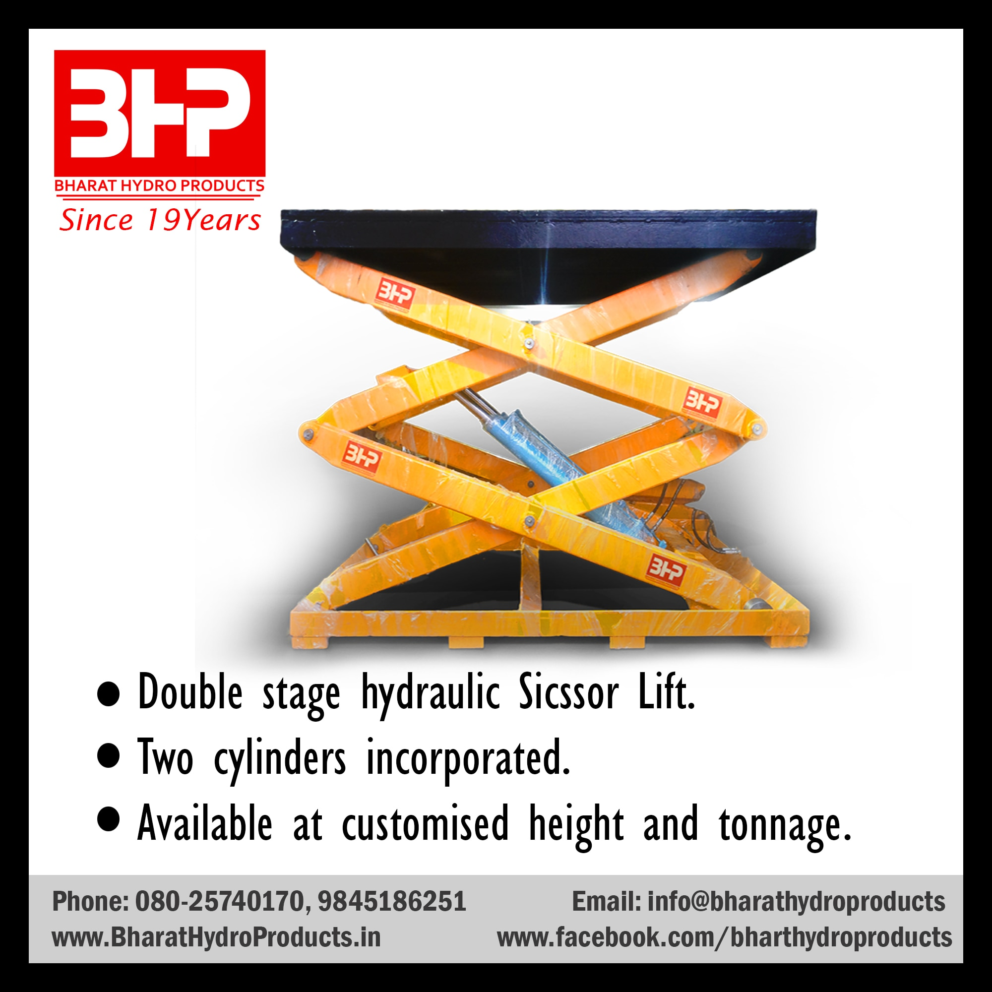 BHP's core hydraulic products manufactured in Bangalore are:   Hydraulic Scissor lift manufactured in Bangalore Hydraulic scissors lifts are one of the material handling equipments.                                                         For reference purpose you will find it in  • Car service centers • Bike service centers • Good carriers Hydraulic Scissors lift or lifting platforms can be in mobile mode or in fixed mode as per your requirement it can be customized. BHP is has been successful in designing scissor lifts or lifting platform  capable of lifting very heavy objects to the desired height.  #Hydraulic #scissorlift #lift #Liftingplatform  #Manufacturers #Bangalore #Customized