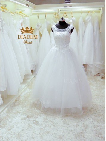 Beautiful Neck Designed Wedding Gown With Beads, Lace & Crystals