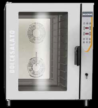 Professional oven suitable for pastry & bakery products cooking. It fit 60x40 trays. Convection mode Temperature range between 20 °C and 270 °C The oven has been designed to work without any supervision. Compulsory use of apposite protection gloves for the manual introduction/removal of trays holding food to be cooked or already cooked.• Safety fuses against short-circuits; • Thermal protection for motor; • Safety thermostat for cooking chamber; • Cooling fan for motor and control components compartment; • Magnetic sensor for automatic stop of the oven when door open.• Control panel with clear symbology; • Signs and symbols readable from any angle; • Electronic control of cooking parameters (time, cooking chamber temperature and humidity percentage) • Acoustic signal for cooking cycle end; • Temperature to be selected in °C; • Self-diagnosis displaying the error message to determine the malfunctions and/or faults.• Heating system located on the back side of the cooking chamber, protected by a panel made of AISI 304 • XT RAPIDCLEAN (optional): device for automatic cooking chamber washing, • Electromechanical venting device to evacuate the exceeding humidity in the cooking chamber; • Motor-fan with suitable air flow, 4 ventilation speed + autoreverse; • Semi-static ventilation; • Cooling system for electric and electronic components, fixed in the• Height adjustable feet made of plastic material; • Base chassis made of sheet steel AISI 430; • Waterproof cooking chamber with rounded edges and deflector panels in stainless steel AISI 304; • External covering panels made of satin stainless steel AISI 430; • Stainless steel door AISI 304 with 2 tempered glasses; air circulation between them; • Handle for door opening with one hand and push shutting; adjustable blocking to guarantee steam proof of the cooking chamber gaskets; • Door hinges in AISI 304 with a thickness of 6 mm, with adjustable fixing system to guarantee steam proof as above specified; • Heating element made 