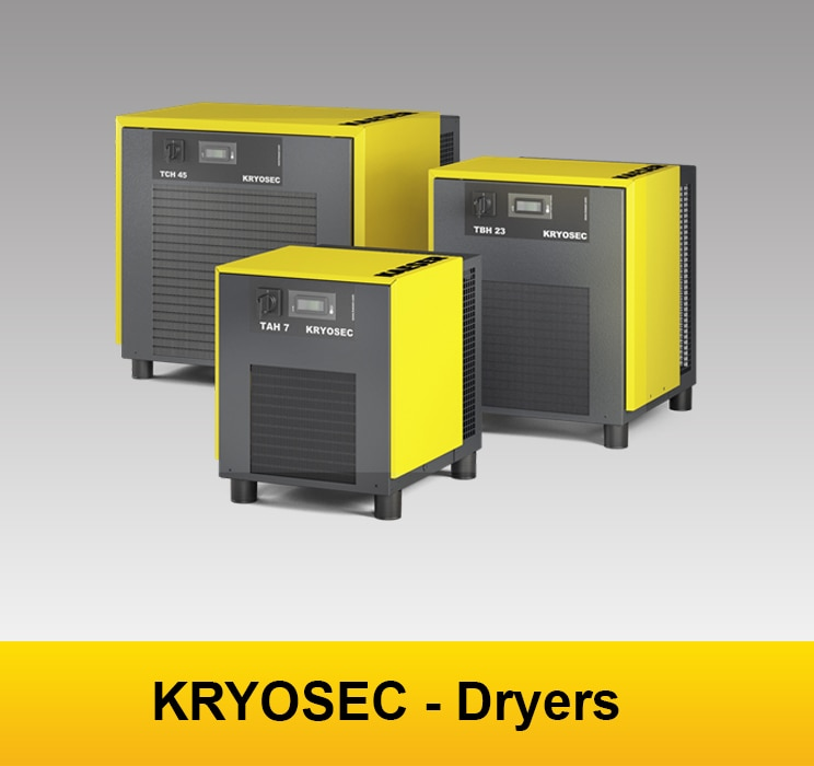 KRYOSEC refrigeration dryers exemplify Made in Germany quality. They provide dependable drying in ambient temperatures up to +50 °C and ensure high effi ciency performance through their low maintenance design and the minimal pressure loss heat exchanger system. With their compact footprint they are exceptionally versatile and are perfect for installation in locations where space is at a premium.  1.High performance refrigerant condenser The dryer's generously dimensioned heat exchanger surfaces enable effective heat transfer even at high ambient temperatures. Robust fi ns with barrier-free fl ow can be easily cleaned as required. 2.Optimised cooling-air flow The cleverly designed cooling air fl ow system in KRYOSEC dryers plays a signifi cant role in ensuring operational reliability. For example, installation of the fan wheel within its own enclosure directly on the refrigerant condenser prevents bypass fl ows from occurring that can negatively impact performance. 3.Premium quality refrigerant compressor The premium quality reciprocating compressors used in KRYOSEC dryers are designed to provide reliable operation in ambient temperatures of up to +50 °C. 4.Strain-relieved condensate line In the KRYOSEC dryer, accumulating condensate is discharged from the condensate drain via a strainrelieved condensate line attached to the enclosure by a bulkhead pipe fitting.  FOR MORE DETAIL  https://goo.gl/gDtv6y