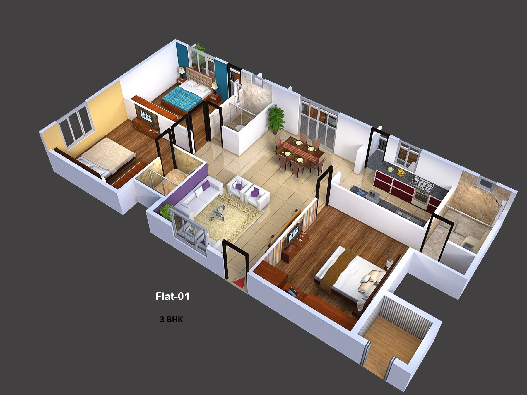 LOVELY 4 BHK APARTMENT COMES WITH 3 BATHROOMS, LIVING, DINING, POOJA, BALCONIES AND SMALL STORE ROOM. ALL APARTMENTS COMES WITH BDA KHATHA.