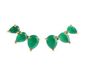 Gold Plated Sterling Silver Prong Set Gemstone Ear Climbers