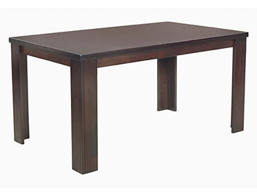 Set in a brownish black colour, Jack dining table exhibits a premium look. The table receives its firmness from the solid wood used in its base. The table top is made of MDF with Okoume veneer, which is a tropical hardwood. Okoume resists stains and serves as an excellent veneer. This dining table has a seating capacity of six chairs. It is rectangular, with sturdy, L-shaped legs.