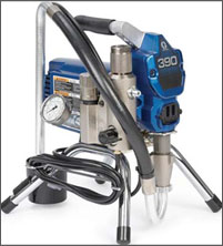 """Graco 390 Airless Sprayer is a solid workhorse built for the professional just """"starting out"""". Lightweight and portable, the 390 is the ideal sprayer for residential jobs, and is the best value in small electric sprayers.   Lightweight Design  1. Graco's lightest professional sprayer  2. Easy to lift and carry   Proven Endurance™ Pump  1. Long-life V-Max™ Packings, Chromex™ Rod and Hardened Stainless Steel Cylinder  2. Proven design and rugged construction 3. QuikAccess intake valve to easily clean or clear debris   Consistent Pressure Control  1. Simple mechanical design for years of reliable use 2. Double-seal design keeps moving parts isolated from paint 3. Delivers quality spray pattern with minimal fluctuation   Reliable DC Motor  1. Allows you to run long extension cords, up to 90 m (14 gauge min.) 2. Quiet and reliable   Swivel Inlet Suction Hose  1. All aluminum construction is durable, lightweight, and rust free 2. No-tools removal of hose for cleaning or accessing inlet ball 3. Easily swivels to reach buckets or cans 4. Stands upright so it won't tip cans over   Welded Steel Frame  1. Welded steel cord wrap doubles as a chain """"lock down"""" 2. Four-leg design for solid footing plus rugged leg caps to protect floor 3. Offset handle for comfortable carrying   Easy Out™ Pump Filter  1. Filtering reduces tip clogs and ensures a quality finish 2. Easy Out design filters from the inside out – so filters won't get stuck or     collapse when dirty  3. Filter removes with the cap for less mess"""