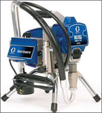 "The new Ultra Max II 490 brings the leading technology and performance of Graco's larger Ultra Max II models into these compact and lightweight sprayers.The 490 is the best choice for professionals looking for superior performance and control for daily use on residential jobs.   Proven Endurance Pump  1. Long-life V-Max Blue Packings, Chromex Rod, and Hardened Stainless Steel cylinder 2. QuikAccess intake valve to easily clean or clear debris   Lightweight Design  1. Weighs only 19 kg 2.  Easy to carry   Exclusive Brushless DC Motor  1. Compact, lightweight motor delivers higher horsepower per wall amp 2. No brushes to replace 3. Enclosed design protects internal motor components from dirt, dust and overspray to extend motor life   SmartControl 2.0 Pressure Control  1. Advanced microprocessor control delivers most consistent spray fan at all spraying pressures 2. Zero deadband at lower spraying pressures makes the 490 ideal for fine finish spraying   Swivel Inlet Suction Hose  1. All aluminum construction is durable, lightweight, and rust-free 2. No-tools removal of hose for cleaning or accessing inlet ball 3. Easily swivels to reach buckets or cans 4. Stands upright so it won't tip cans over   Welded Steel Frame 1. Offset handle with rubber comfort grip provides comfortable carrying 2. Welded steel cord wrap doubles as a chain ""lock down"" 3. Choose Stand, Hi-Boy or Lo-Boy cart   Easy Out Pump Filter  1. Filtering reduces tip clogs and ensures a quality finish  2. Easy Out design filters from the inside out so filters won't get stuck or collapse 3. Filter removes with the cap for less mess"