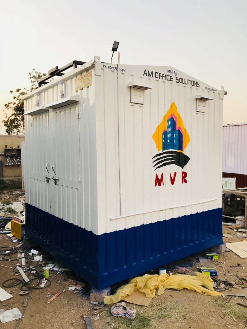 "TECHNICAL SPECIFICATION : Container Dimension:–8' (length) x 4' (width) x 8.5' (height).  1.	M. S. Corrugated Exterior. 2.	Insulated Door. Size 3' x 6'.5''Lockable. 3.	Painting ""Water Proof Paint"" Safe from Rain and Sunlight. 4.	Thermocol Installations on Top & 4 Sides. 5.	On Four Sides Water & Fire Resistance                                                            Hylam Sheets Installed. 6.	Water Pipes Installation. 7.	Water tank stand on the top of the cabin.                    ELECTRICAL FITTINGS: - 1.	Exhaust Fans. 2.	Bulk Head Light Outside the Cabin. 3.	Switches & Electricals Fittings. 4.	1 Bulb inside. 5.	Main Cable Entry Socket with Aluminum.     	Toilet (4'x4') •	IWC. •	Wash Basin. •	Health Faucet. •	Tap. •	Water tank stand."
