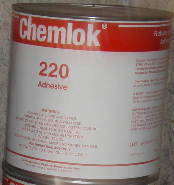 LORD Chemlok® 220 adhesive is a covercoat adhesive designed for use over Chemlok 205 primer. This adhesive system will bond a wide variety of elastomers such as natural rubber (NR), styrene-butadiene (SBR), polychloroprene (CR), nitrile (NBR) and polyisoprene (IR) to various metals and other rigid substrates during vulcanization of the elastomer. It is composed of a mixture of polymers, organic compounds and mineral fillers dissolved or dispersed in an organic solvent system.  Shelf Life  Shelf life is two years from date of shipment when stored at 21-27°C (70-80°F) in original, unopened container. Do not store or use near heat, sparks or open flame.  Features and Benefits  Versatile - bonds a variety of elastomers and metals when used in combination with Chemlok 205 primer.  Environmentally Resistant - provides superior resistance to heat, water, salt spray, chemicals, oils, solvents and corrosive atmospheres.  Easy to Apply - applies easily by dip, spray or brush methods.